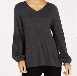 STYLE & CO Grey Ribbed Bishop Sleeve Sweater L